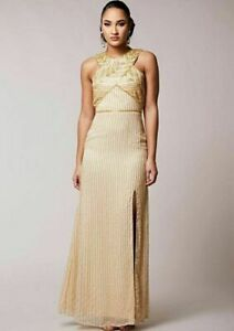 NEW Virgos Lounge Gold Brandy Grecian Cocktail Embellished Maxi Dress