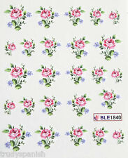 Nail Art Stickers Nail Water Decals Nail Transfers Pink Blue Flowers Roses 1840