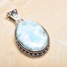 "Handmade Pale Blue Caribbean Larimar 925 Sterling Silver 2"" Pendant #P15619"