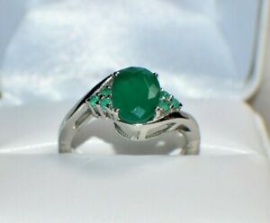 3.67ct NATURAL GENUINE AFRICAN EMERALD 14k WHITE GOLD FILL COCKTAIL GYPSY RING