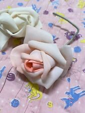 2 Pc Vintage Millinery Rose Flowers Pink And White Nwt Made In France