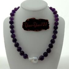 """19"""" White Keshi Pearl Amethyst Necklace"""