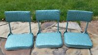 3 Vintage Green 1950's 1960's Portable Folding Stadium Seats Chairs