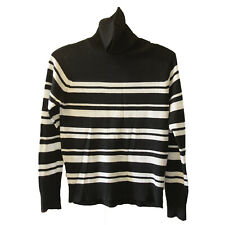 Vintage Black & White Striped Turtleneck Throwback 1980 Hipster, Size Medium