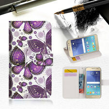 Purple Butterlfy Wallet Case Cover for Samsung Galaxy J5 Prime- A017