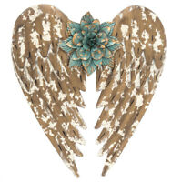 Flower Angel Wings Metal Wall Decor.Gold Finish W. turquoise Flower Home Decor