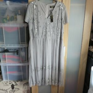 Lovedrobe Luxe Silver grey sequin embellished dress size 24 BNWT
