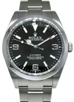 Rolex Explorer Stainless Steel Black Dial Mens 39mm Watch Box/Papers 214270