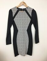 Divided H&M Dress Black White Hourglass Pattern Long Sleeve Style Womens 8