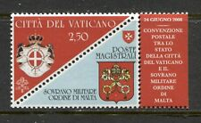 VATICAN 2008, POSTAL CONVENTION W. SOVEREIGN MILITARY ORDER OF MALTA Sc 1395 MNH