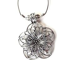 Bohemian Pendant Tibetan Silver Colour Jewellery Carved Metal Flower Boho Style