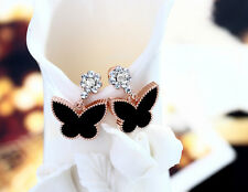 Sparkling Butterfly Rose Gold/Cubic Zirconia Black Stud Earring