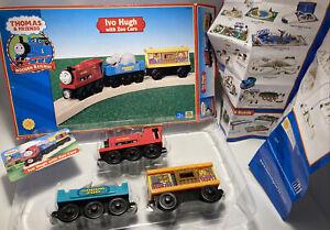 Thomas Wooden Railway Train Set Ivo Hugh with Zoo Cars CHOMPING Hippo Lion Lot