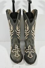 JUSTIN WOMENS 6.5 B BENT RAIL DISTRESSED COAL BLACK LEATHER CROSS COWBOY BOOTS