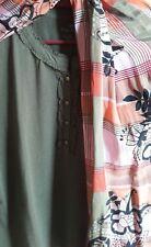 NWT SzXL (16-18) Talbots 3/4 Sleeve Ruffle-Neck Henley Knit Top, Oakmoss Green
