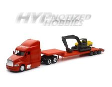NEWRAY 1:43 PETERBILT MODEL 387 LOW BOY WITH EXCAVATOR DIE-CAST RED SS-15133D