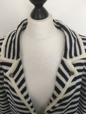 RIVER ISLAND CARDIGAN, NAVY BLUE & IVORY, NAUTICAL BUTTONS, POCKETS, UK 14.