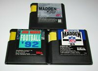 Lot of 3 Madden NFL Games 92, 94 & 96 for Sega Genesis Fast Shipping!