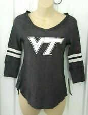 Virginia Tech Hokies Womens Juniors Top Size Small 3/5 Lightweight Thermal Shirt