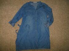 Almost Famous Large Blue Denim Full Button Shirt Dress Belt Pockets