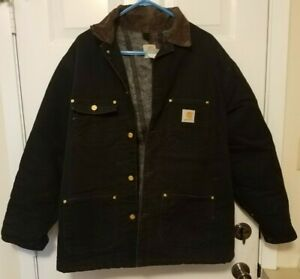 Vintage Carhartt Jacket Duck Chore Coat Blanket Lined Size Large Black Canvas