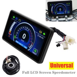 12V Universal Motorcycle LCD Speedometer Digital Odometer Tachometer Fuel Gauge