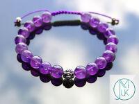 Amethyst Om Sterling Silver Natural Gemstone Bracelet 6-9'' Macrame Healing