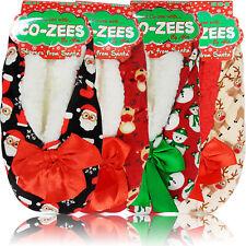 NEW LADIES WOMEN GRIP FLEECE WARM CHRISTMAS GIFT INDOOR SLIPPERS SOCKS SIZE BED