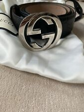 Mens gucci Belt Black Leather Interlocking gg Logo Guccissima 110 44 Signature