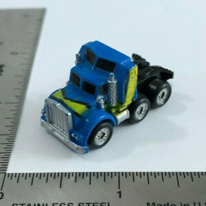 Micro Machines 1987 Galoob '80s Kenworth Semi Truck Blue with Yellow Stripe