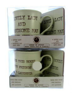 2 x gifts boxed mugs with coasters words of wisdom, christmas presents