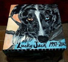 Custom Pet urn for ashes Dogs cremation urn Med memorial 4 sided ceramic DOG box