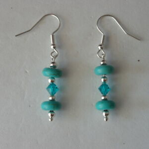 PRETTY EARRINGS WITH TURQUOISE AND CRYSTAL BEADS 2.8 GR. 4.5 CM. LONG