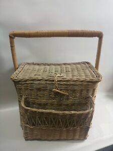 Vintage  Rattan Straw Woven  Picnic Basket Summer