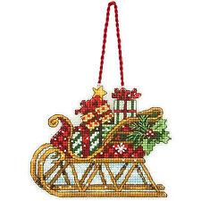 Cross Stitch Kit ~ Glad Tidings Sleigh Christmas Ornament #70-08914 OOP SALE!