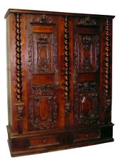 1680 South German Cabinet Fassadenschrank Carvings Parquetry Ornate Hardware