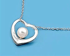 Pearl Necklace Sterling Silver 925 Heart Pendant with Chain Jewelry Gift