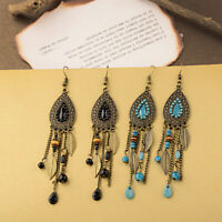 Boho Womens Water Drop Leaf Tassel Beads Hook Earrings Long Dangle Bride Jewelry
