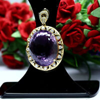 NATURAL 19 X 24 mm. OVAL PURPLE AMETHYST & WHITE CZ PENDANT 925 STERLING SILVER