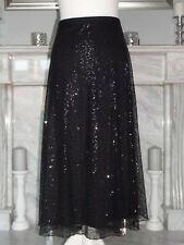 PER UNA GORGEOUS BLACK MESH FULLY SEQUINNED FIT AND FLARE PARTY SKIRT SIZE 16