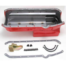Hamburger Engine Oil Pan 1088; Econo-Series Drag Race 7qt Red for Chevy SBC