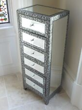 Embossed Metal Mirrored Glass Tallboy Tall Storage Chest Of 6 Drawers Sideboard