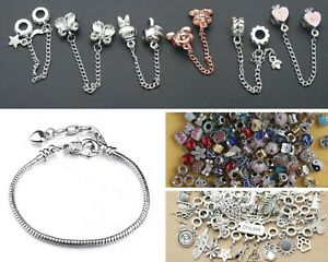 Mix and match charms bracelet variety dangly pave clasp snake chain safety chain