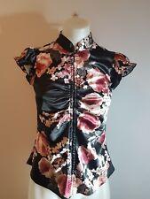 Review Size 8 Black Satin Floral Top