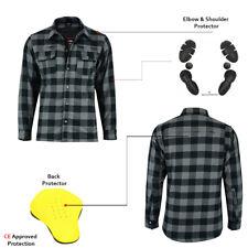 Grey/Black Motorbike Motorcycle Shirt Lumberjack Shirt Protective CE Armoured