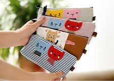 Cute Cat Pencil Case Canvas Cartoon Stripe Pouch Bag Organizer Children Women