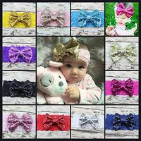Baby Girls Headband Soft Lace Large Sequin Bow Elastic Band Hairband