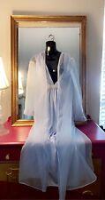 New listing Vtg Blue Flowing Chiffon Negligee Nightgown Robe Set M Peignoir