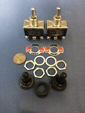 2 Pieces Black Waterproof boot cap DPDT momentary Toggle switch 2x ON/OFF/ON amp