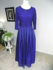 R&M Richards Peacock Blue Glitter Lace Taffeta Bridesmaid Mother of Bride Dress